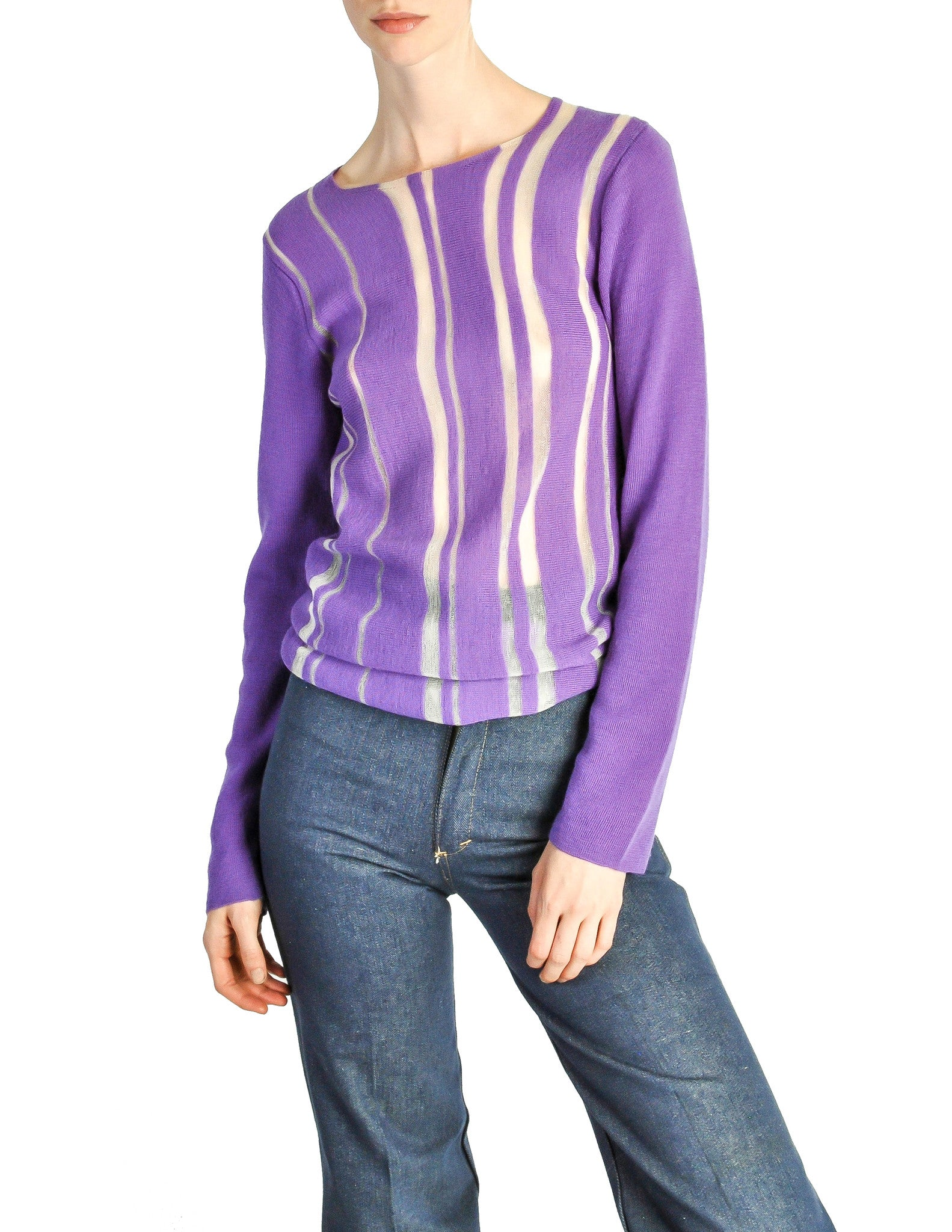 Comme des Garçons Vintage Purple & Sheer Mesh Striped Sweater - Amarcord Vintage Fashion  - 1