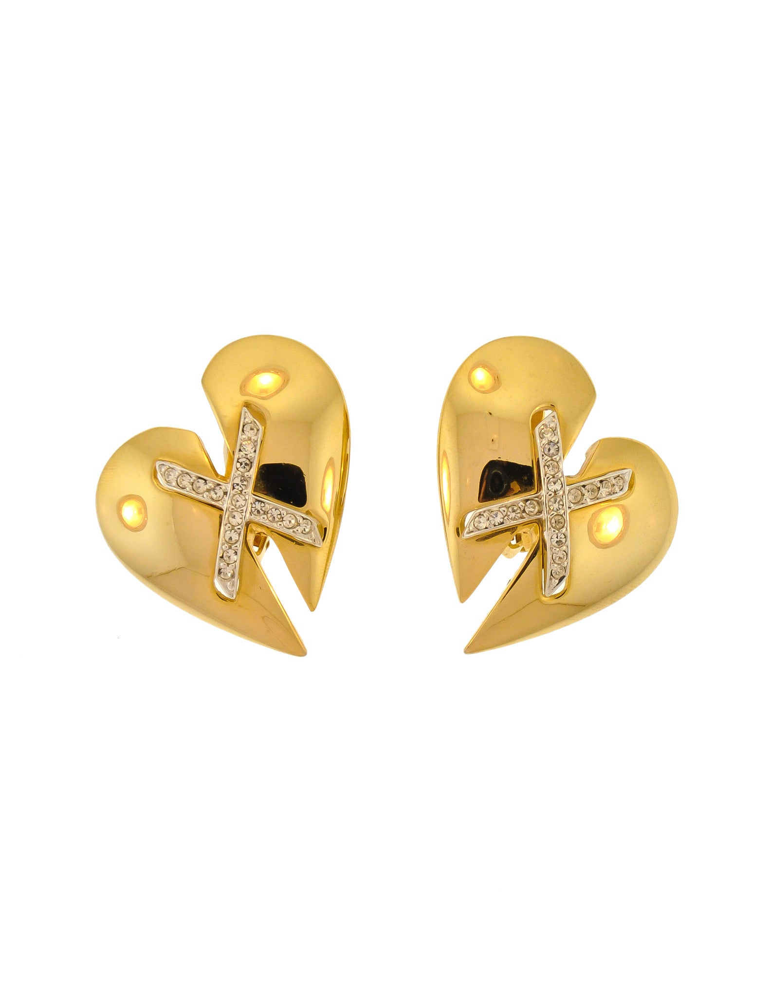 Courrèges Vintage Gold Broken Heart Earrings - Amarcord Vintage Fashion  - 1
