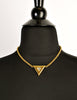 Courrèges Vintage Gold Rhinestone Triangle Necklace - Amarcord Vintage Fashion  - 5