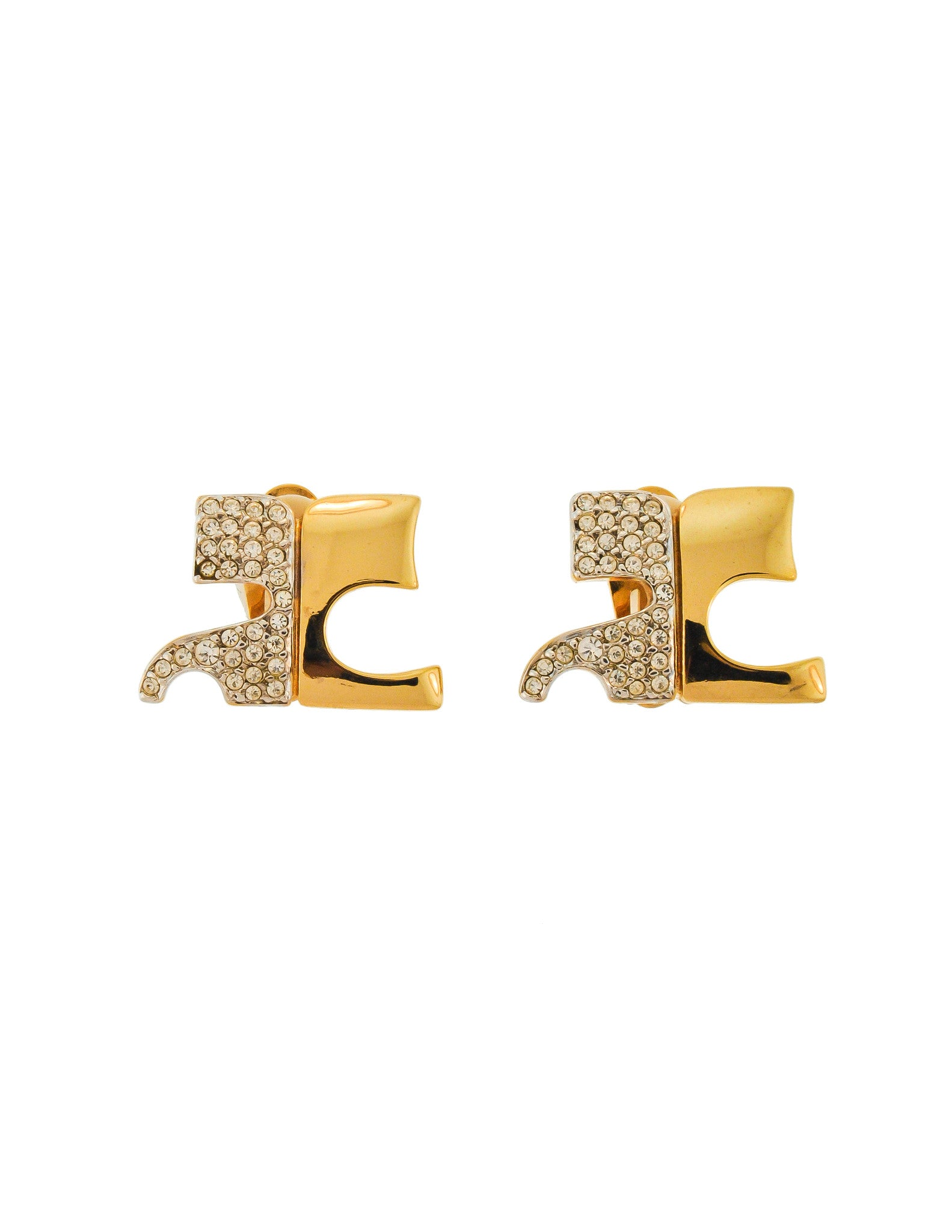 Courrèges Vintage Signature Gold Rhinestone Earrings - Amarcord Vintage Fashion  - 1