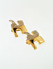 Courrèges Vintage Signature Gold Rhinestone Earrings - Amarcord Vintage Fashion  - 3