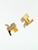 Courrèges Vintage Signature Gold Rhinestone Earrings - Amarcord Vintage Fashion  - 2