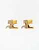 Courrèges Vintage Signature Gold Rhinestone Earrings - Amarcord Vintage Fashion  - 4
