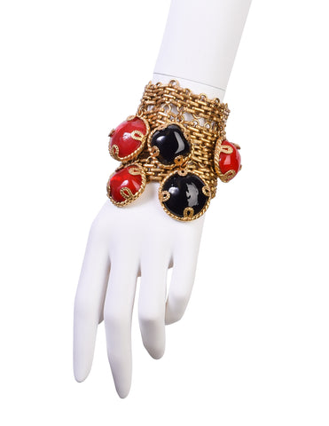 Dominique Aurientis Vintage Black Red Gripoix Charm Brassy Gold Wide Chain Bracelet