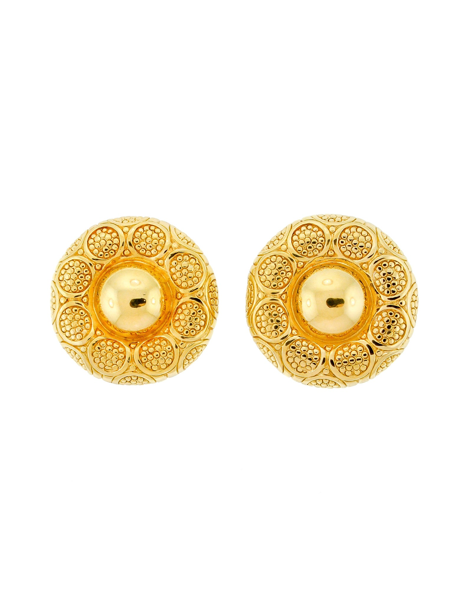 Christian Dior Gold Medallion Earrings - Amarcord Vintage Fashion  - 1