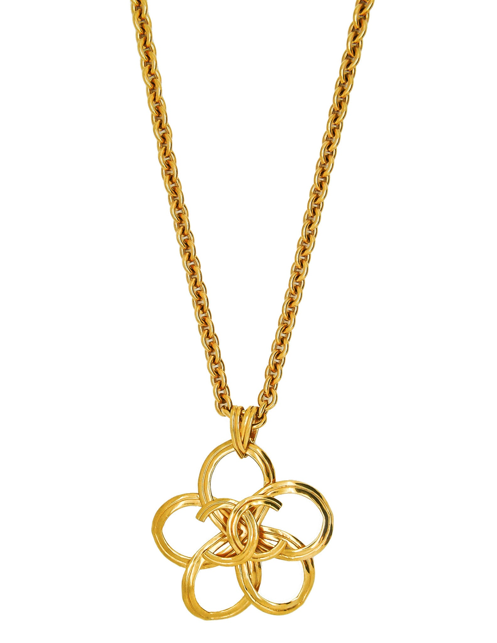 Chanel Vintage Gold Camellia Flower Necklace - Amarcord Vintage Fashion  - 1