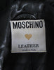 Moschino Vintage Studded Black Leather Cropped Moto Jacket - Amarcord Vintage Fashion  - 8