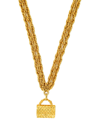Chanel Vintage Gold Quilted Handbag Necklace
