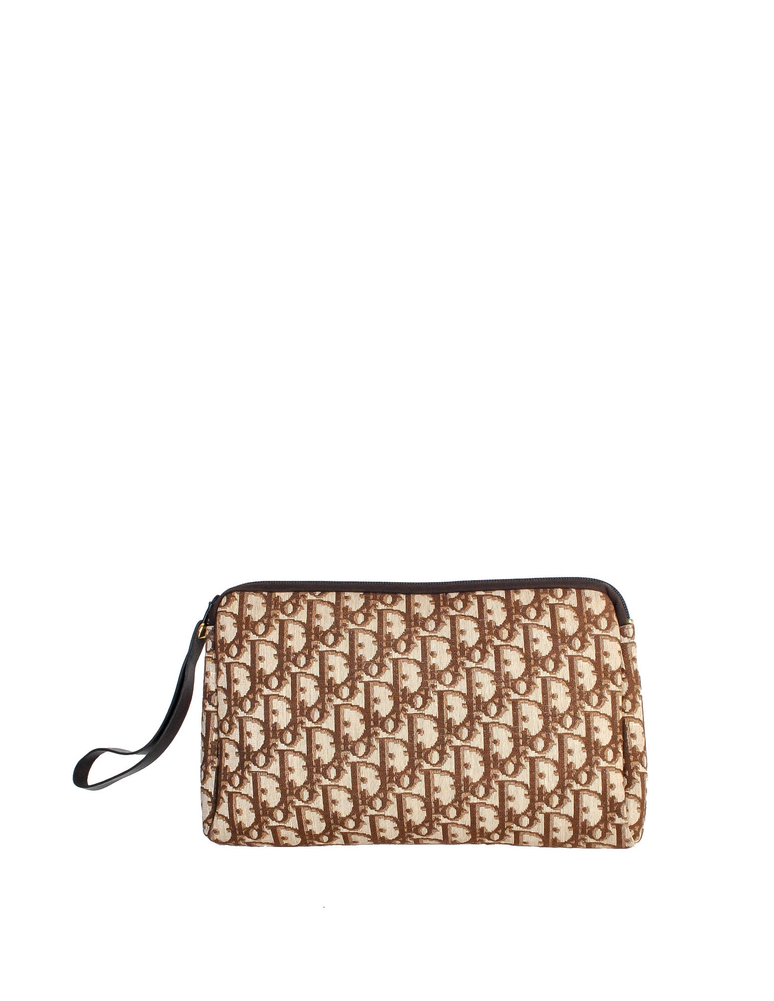 Christian Dior Vintage Brown Monogram Clutch Bag - Amarcord Vintage Fashion  - 1