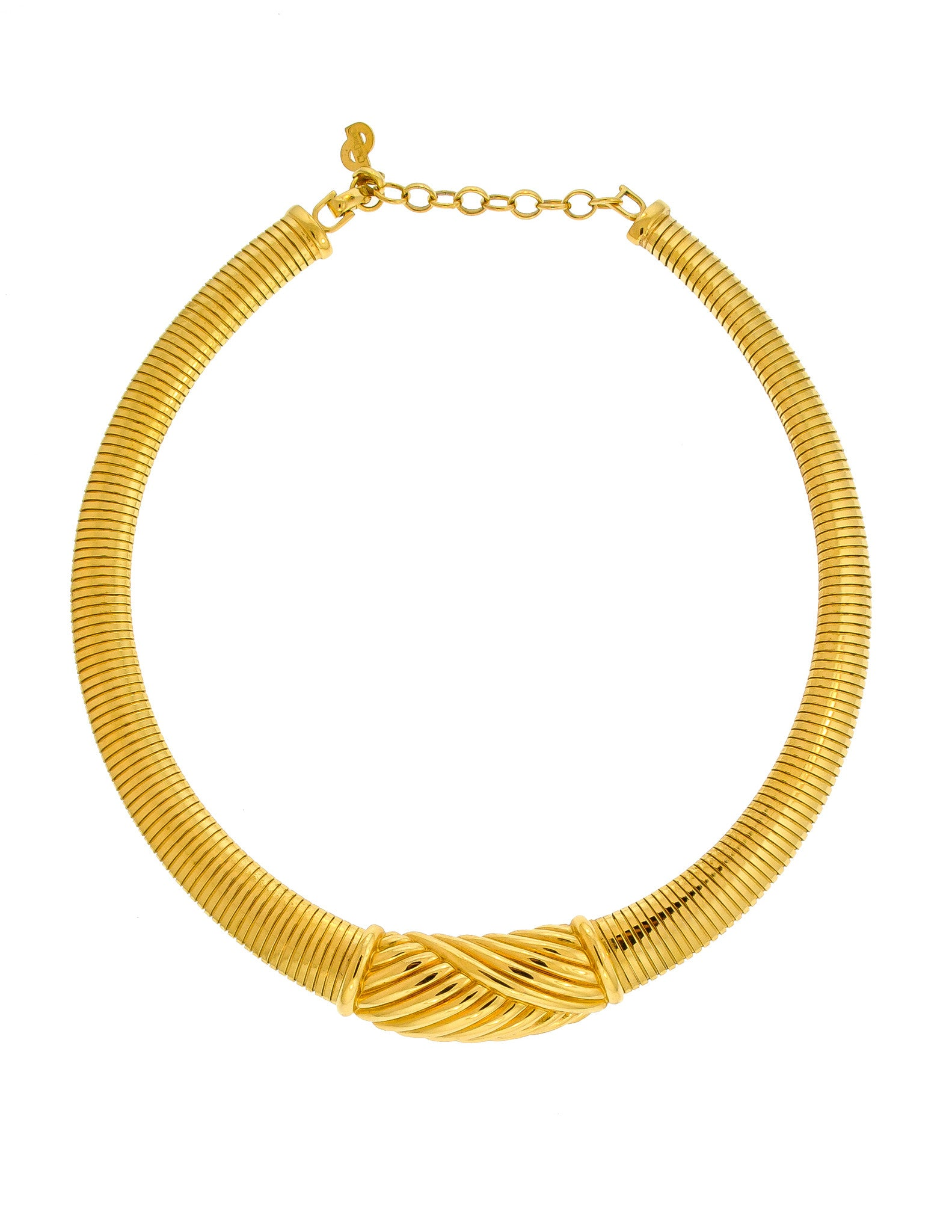 Christian Dior Gold Omega Choker Necklace - Amarcord Vintage Fashion  - 1