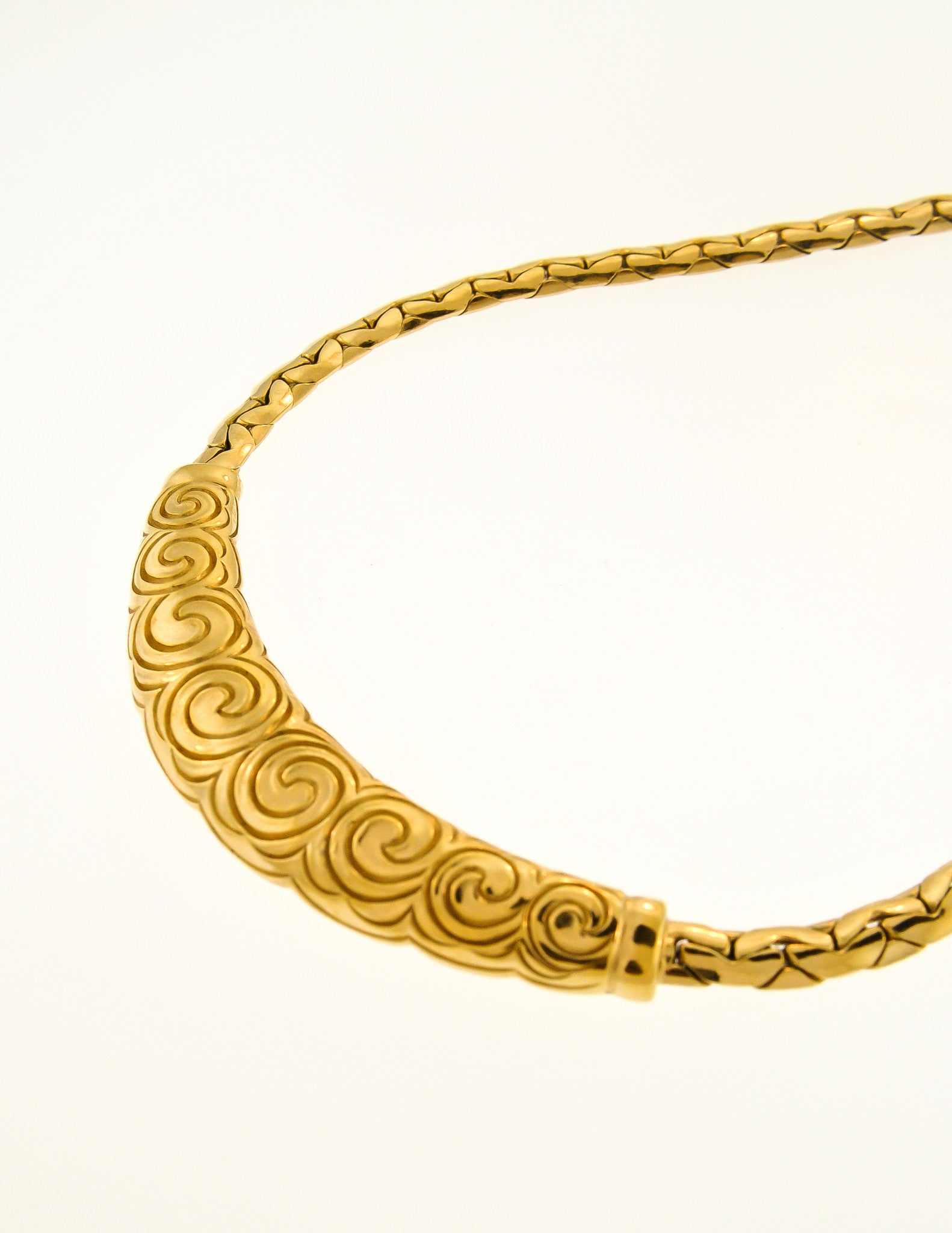 Christian Dior Vintage Gold Swirl Necklace From Amarcord
