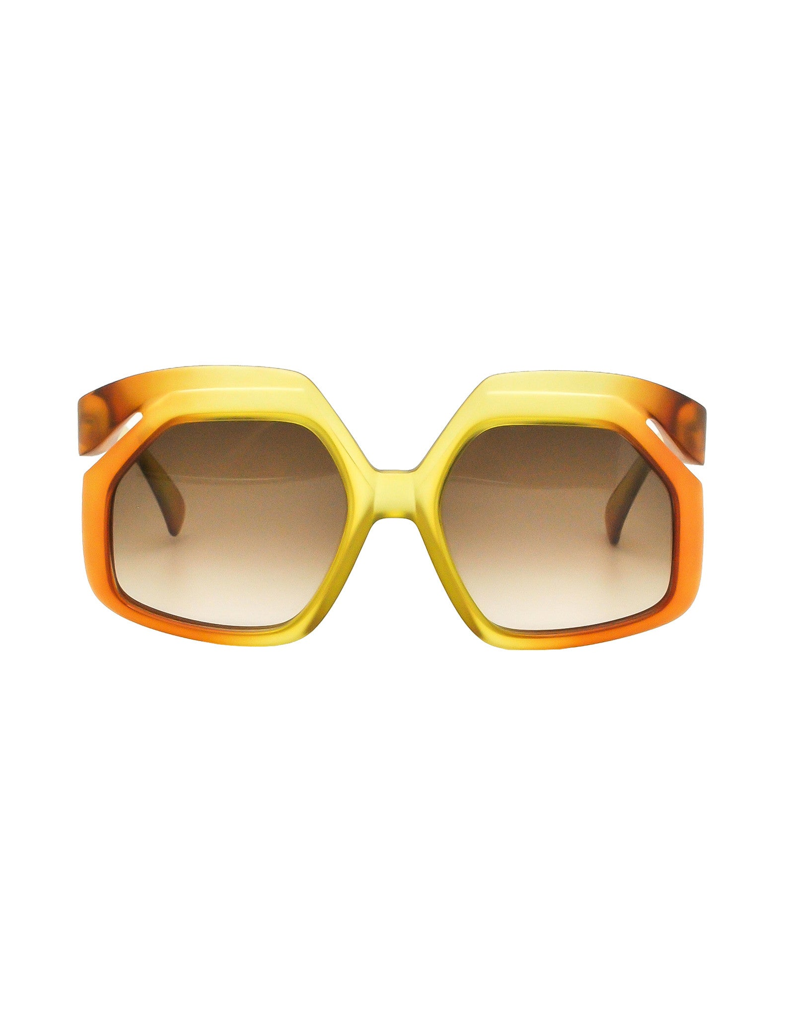 Christian Dior Vintage 1970s Yellow & Orange Ombre Sunglasses 2006 - Amarcord Vintage Fashion  - 1