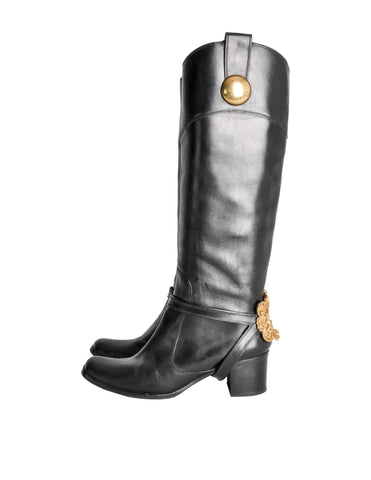 8f111fa0f8e Dolce   Gabbana Vintage Black   Gold Leather Boots