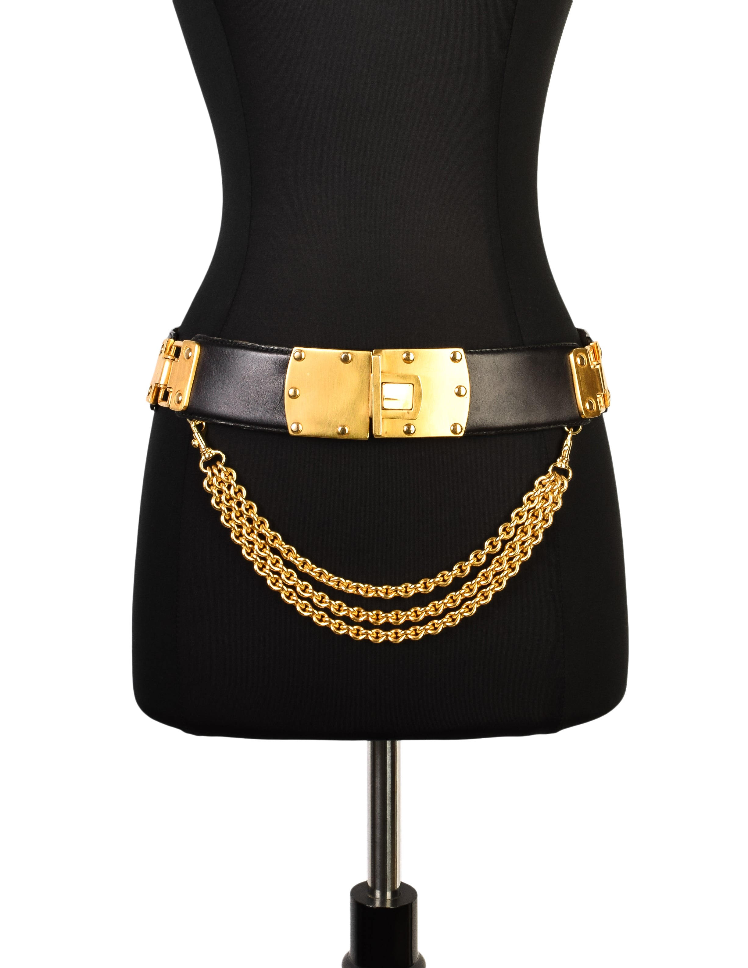 Donna Karan Vintage Black Leather Gold Plaque Chain Belt