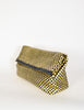 Donna Karan Vintage Metallic Gold Checkerboard Woven Leather Oversized Clutch Bag