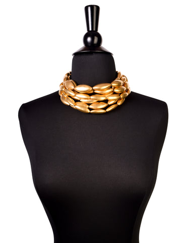 Donna Karan Robert Lee Morris Vintage Matte Gold Multistrand Choker Necklace