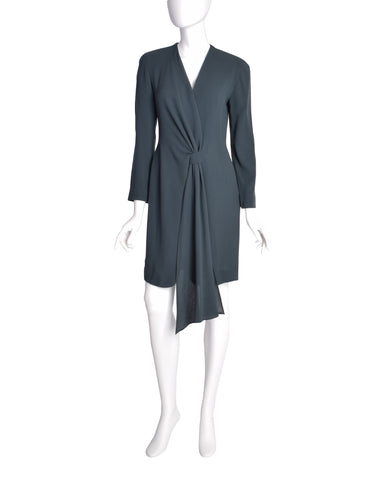 Donna Karan Vintage 1980s Slate Grey Deep V Wrap Dress