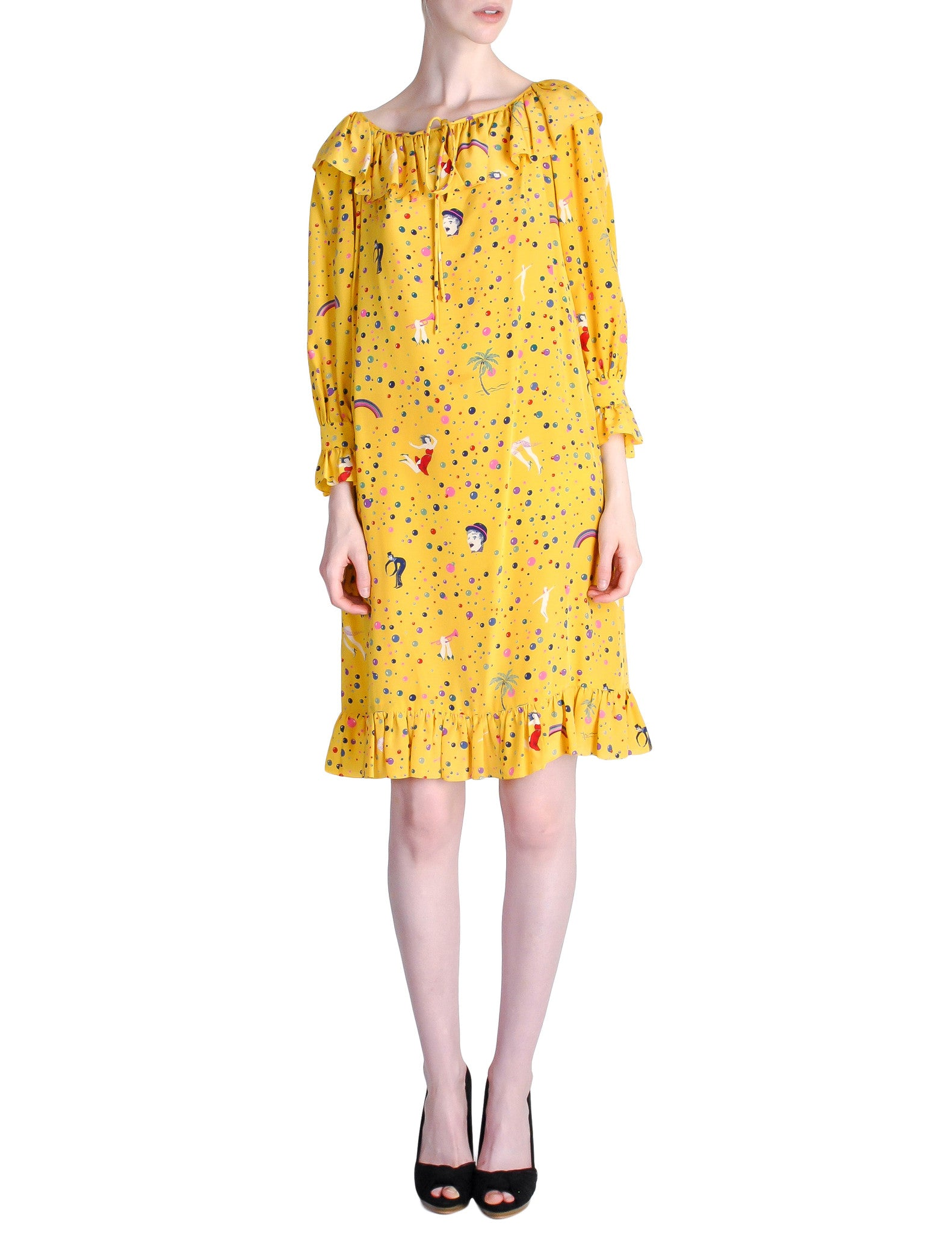Ungaro Vintage 1970s Bright Yellow Carnival Bubble Print Dress - Amarcord Vintage Fashion  - 1