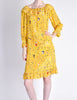 Ungaro Vintage 1970s Bright Yellow Carnival Bubble Print Dress - Amarcord Vintage Fashion  - 2