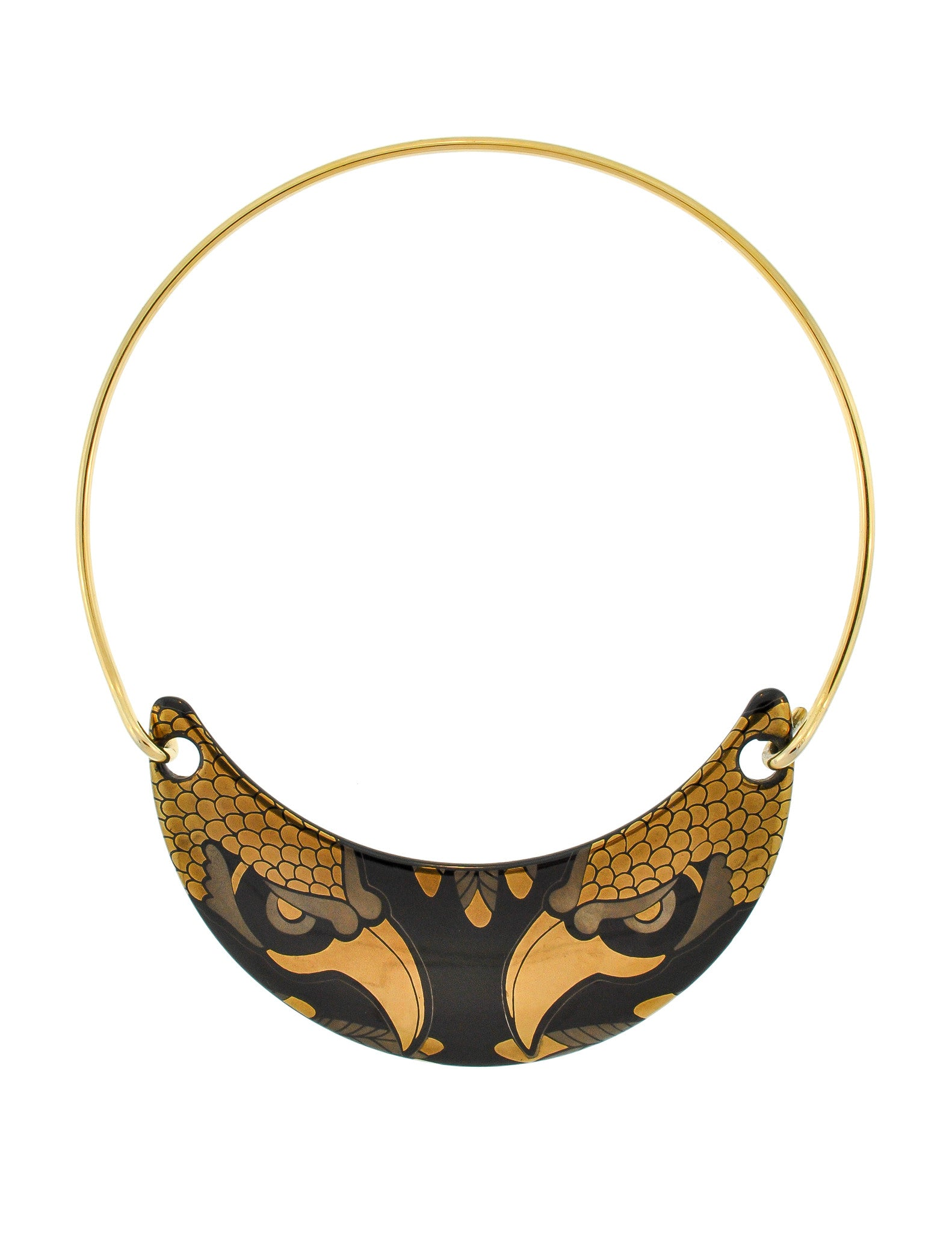 Franco Bastianelli for Laurana Vintage Gold & Black Enamel Hawk Necklace - Amarcord Vintage Fashion  - 1