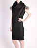 Fendi Vintage Black Wool Funnel Neck Mohair Tunic Dress - Amarcord Vintage Fashion  - 3