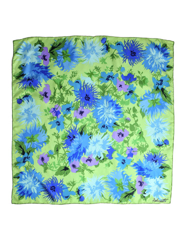 Falconetto Vintage Green Floral Silk Scarf