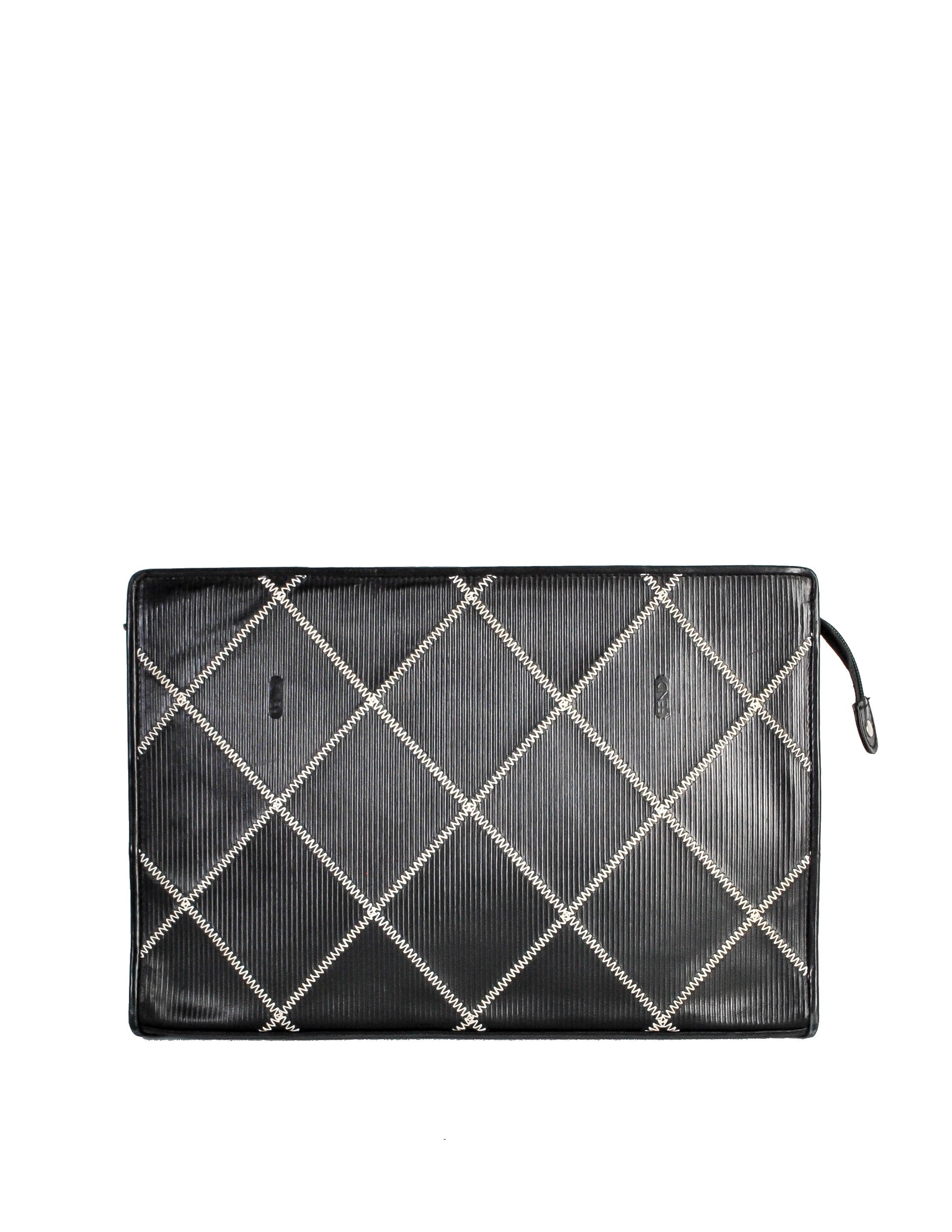 Fendi Vintage Black Ribbed Leather Contract Stitch Portfolio Clutch Bag
