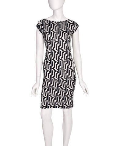 Fendi Vintage Black White Grey Logo Bodycon Dress
