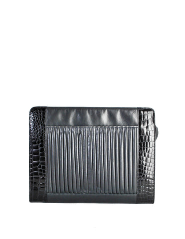 Fendi Vintage Blue and Black Leather Croc Embossed Portfolio Clutch Bag