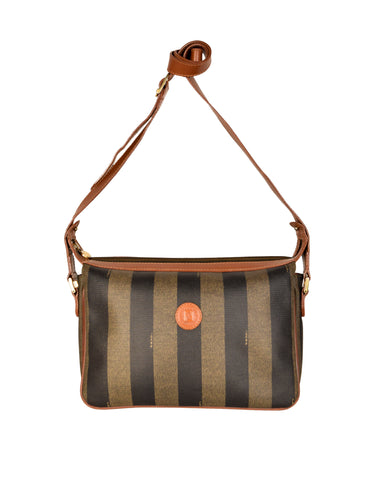 Fendi Vintage Brown and Black Striped Trio Compartment Crossbody Shoulder Bag