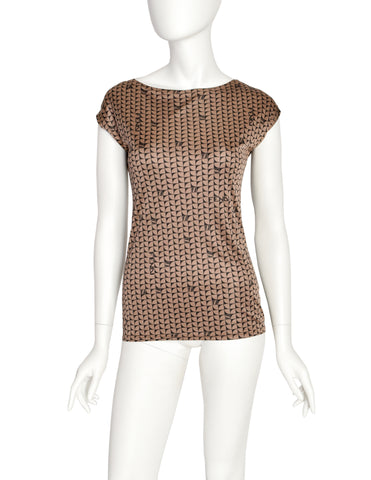 Fendi Vintage Black and Brown Geometric Logo Top