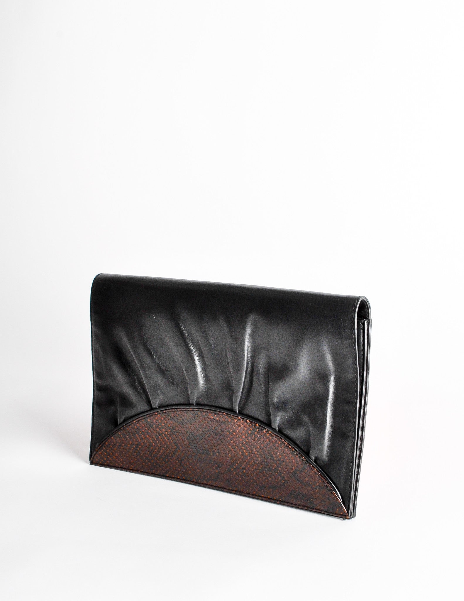 13425401 Fendi Vintage Black and Brown Leather Clutch Purse - from ...