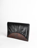 Fendi Vintage Black and Brown Leather Clutch Purse - Amarcord Vintage Fashion  - 3