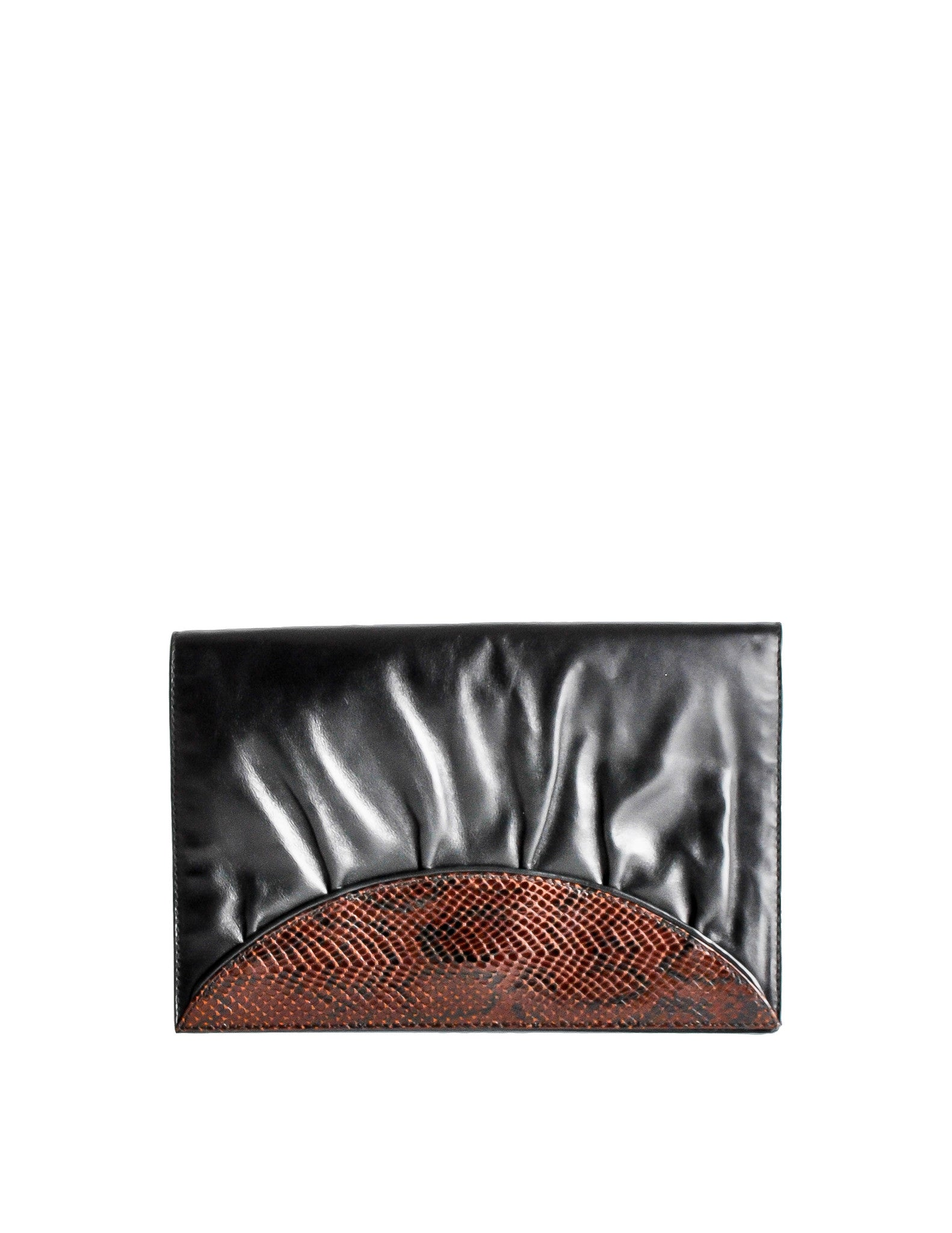 Fendi Vintage Black and Brown Leather Clutch Purse - Amarcord Vintage Fashion  - 1