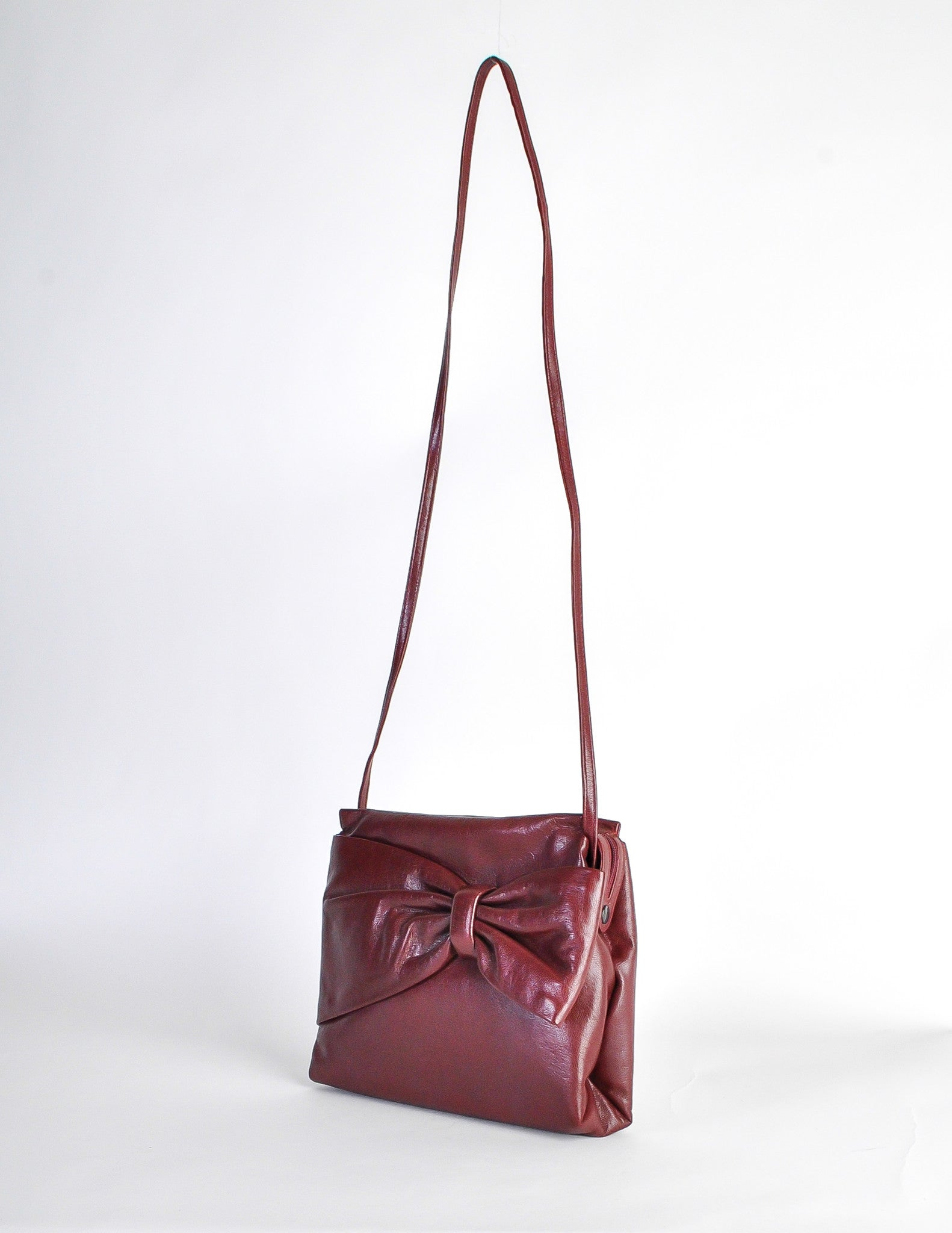 2eb441a3 Fendi Vintage Burgundy Leather Bow Front Bag - from Amarcord ...