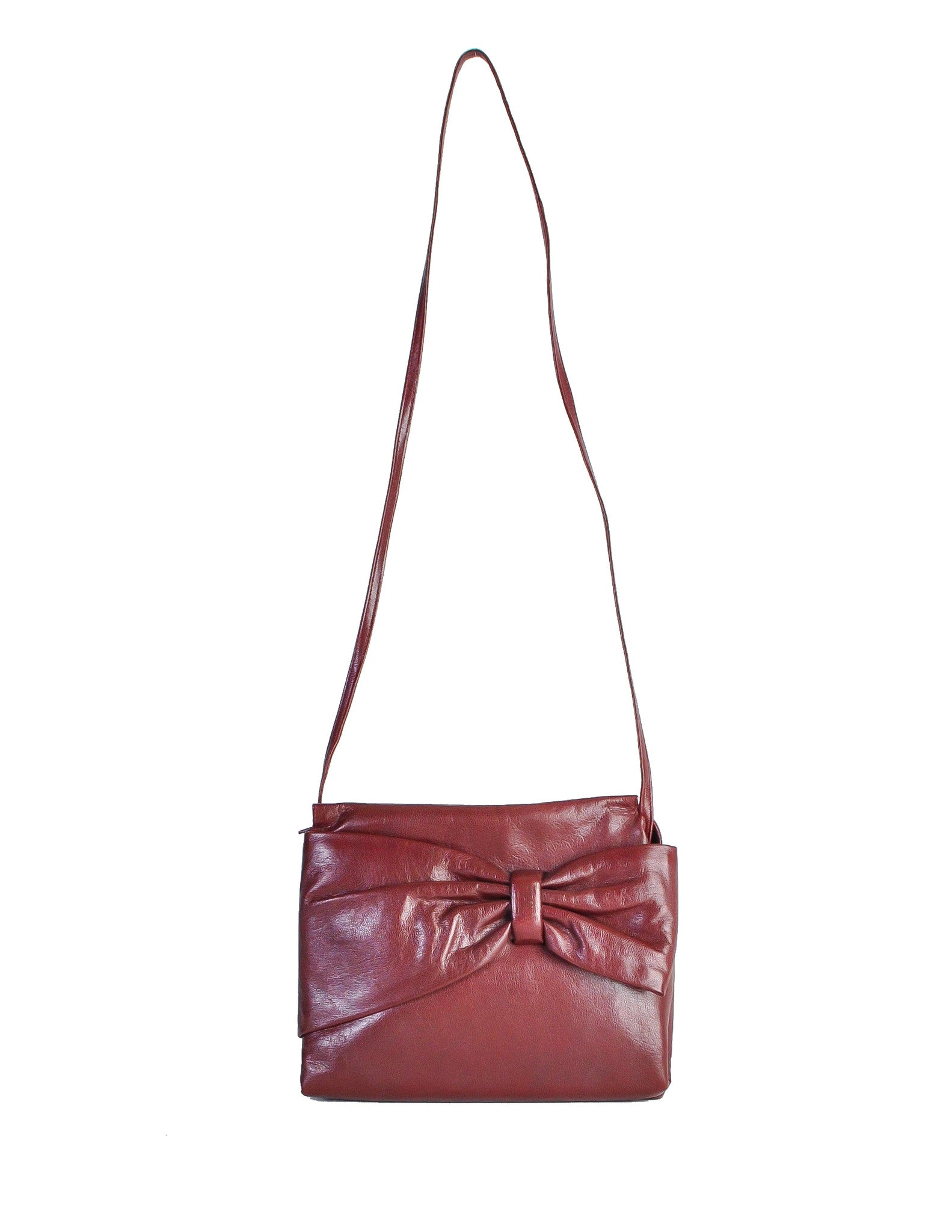 Fendi Vintage Burgundy Leather Bow Front Bag - Amarcord Vintage Fashion  - 1