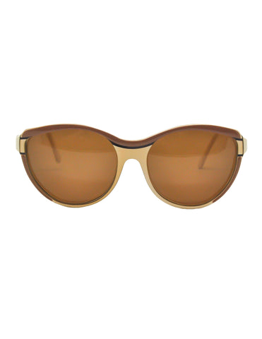Fendi Vintage Brown and Cream Sunglasses 140