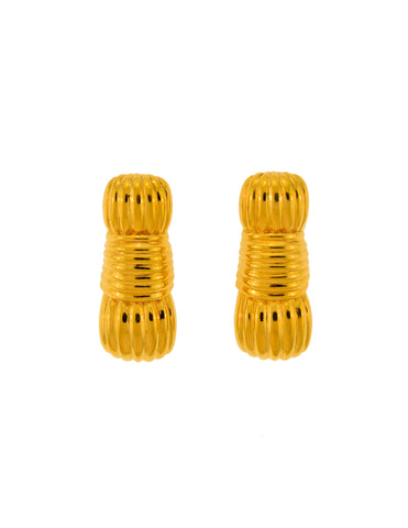 Fendi Vintage Gold Ribbed Knot Earrings