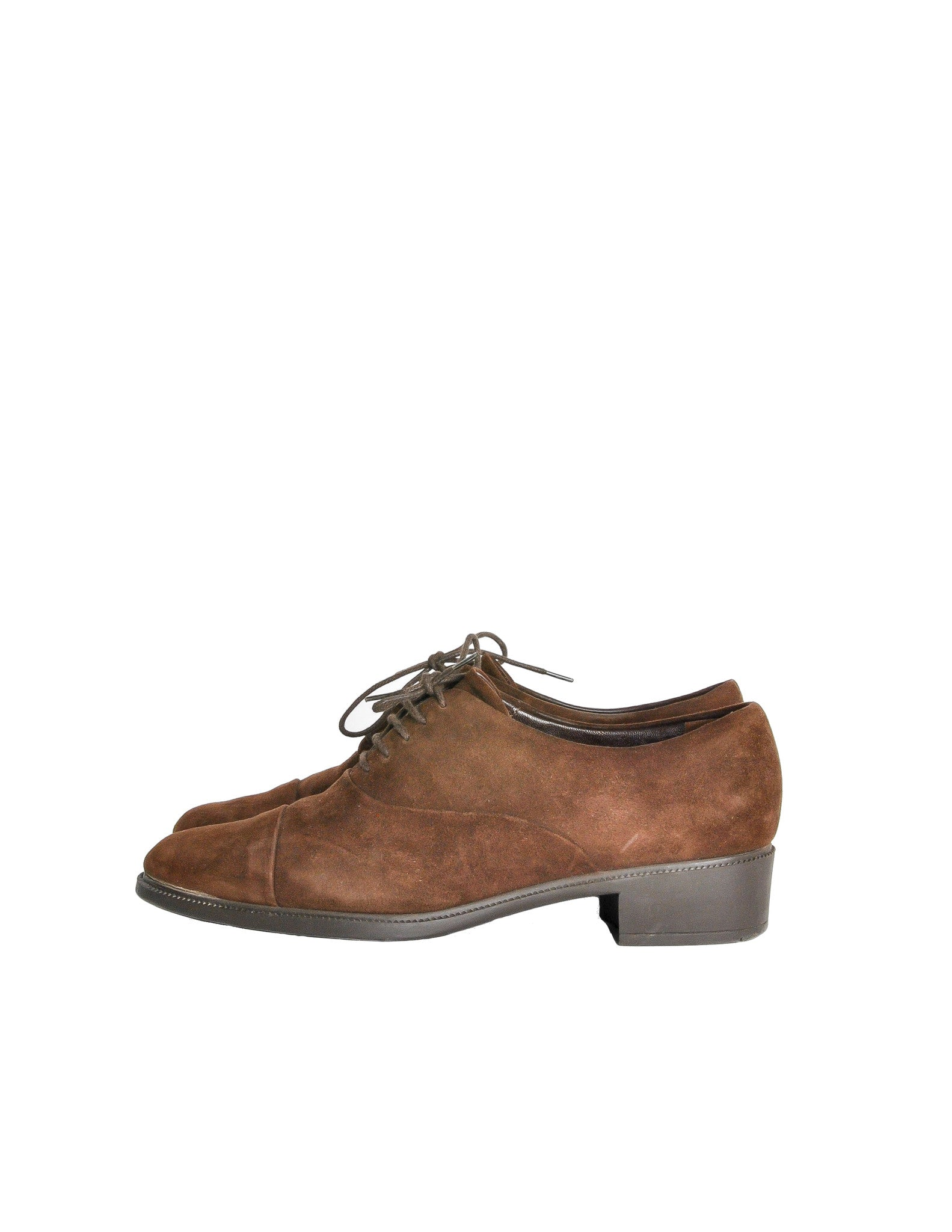 Ferragamo Vintage Brown Suede Heeled Oxford Shoes - Amarcord Vintage Fashion  - 1