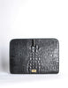 Ferré Vintage Black Alligator Portfolio Clutch - Amarcord Vintage Fashion  - 7