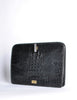 Ferré Vintage Black Alligator Portfolio Clutch - Amarcord Vintage Fashion  - 2