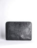 Ferré Vintage Black Alligator Portfolio Clutch - Amarcord Vintage Fashion  - 5