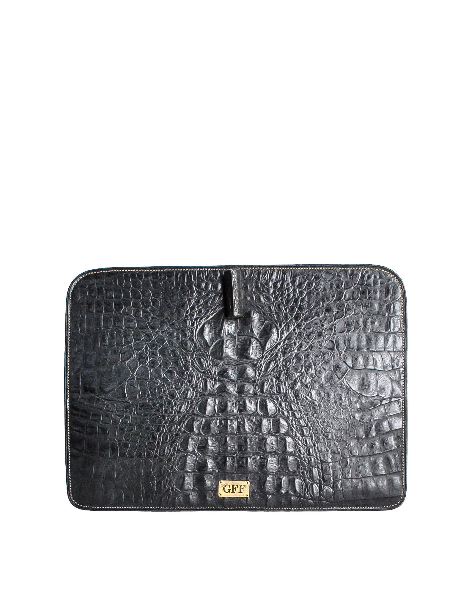 Ferré Vintage Black Alligator Portfolio Clutch - Amarcord Vintage Fashion  - 1