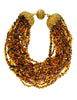 Ferré Vintage Multistrand Brown Glass Beaded Necklace - Amarcord Vintage Fashion  - 1