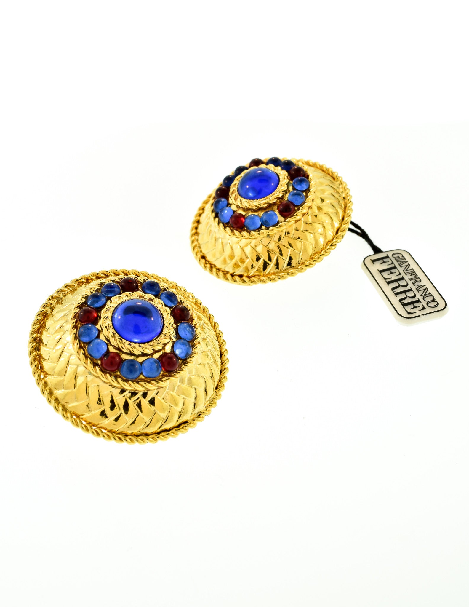 Gianfranco Ferré Vintage Gold Blue & Red Rhinestone Earrings  Amarcord  Vintage Fashion  3