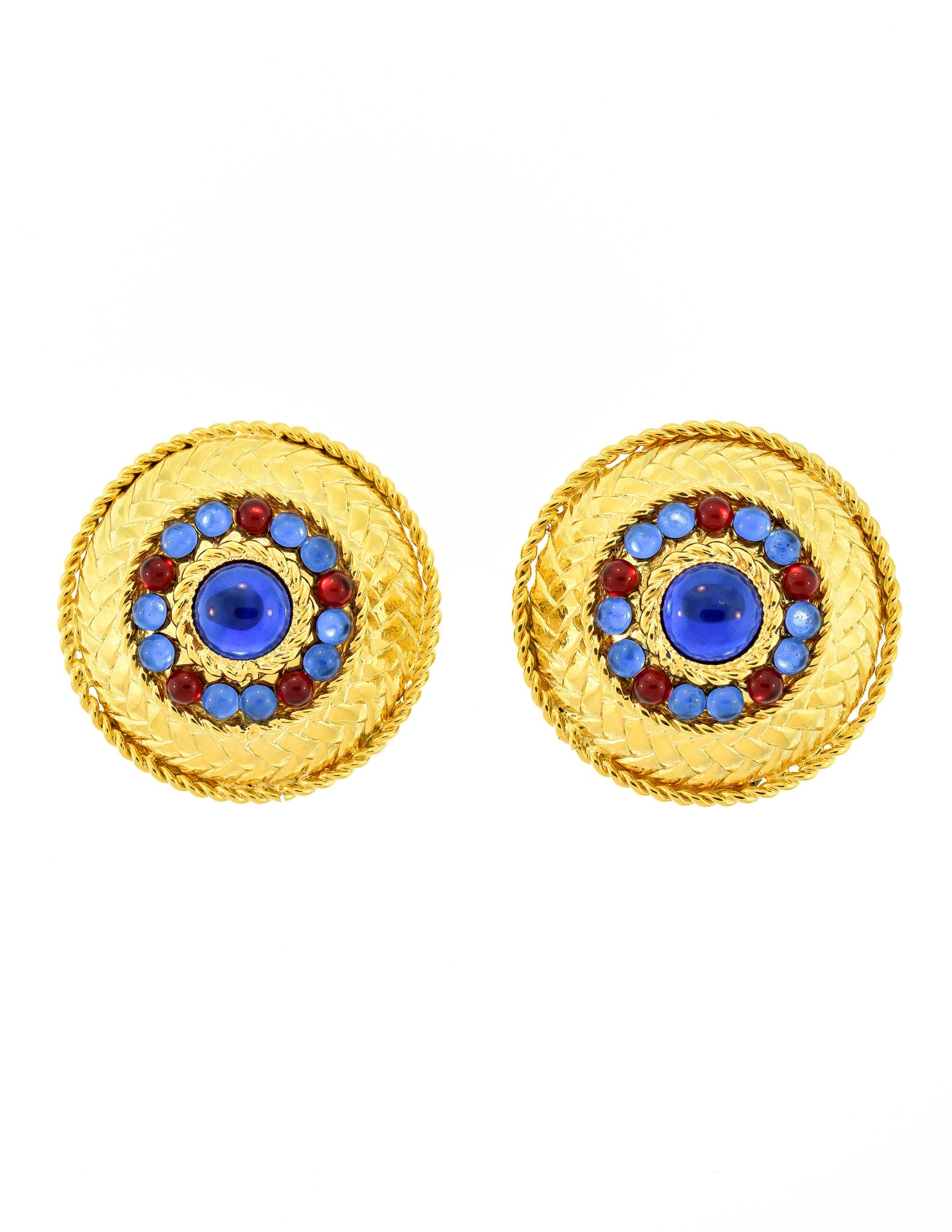 Gianfranco Ferré Vintage Gold Blue & Red Rhinestone Earrings  Amarcord  Vintage Fashion  2