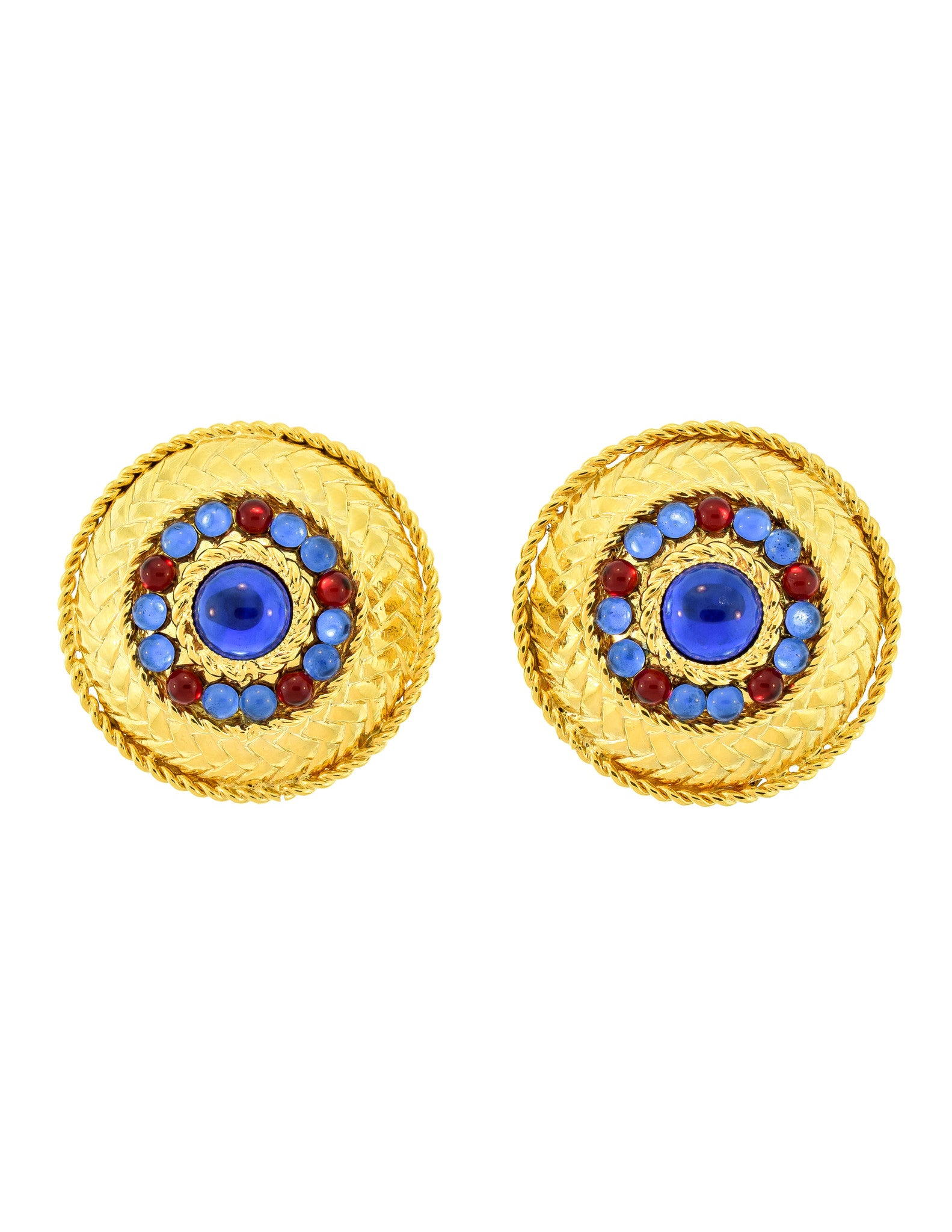 Gianfranco Ferré Vintage Gold Blue & Red Rhinestone Earrings - Amarcord Vintage Fashion  - 1