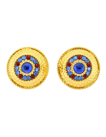 Gianfranco Ferré Vintage Gold Blue & Red Rhinestone Earrings