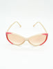 Gucci Vintage Cream and Red Sunglasses - Amarcord Vintage Fashion  - 5