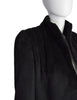 Galanos Vintage Black Alpaca Wool Structured Shoulder Cropped Jacket Coat